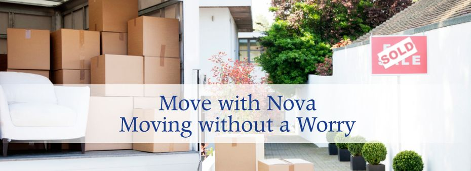 Move with Nova Moving without a Worry, moving truck and boxes